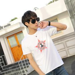 短袖男士夏季t恤圆领韩版潮流修身半袖上衣纯棉白色打底体恤服装