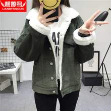 The winter of 2017 new women's college students with cashmere coat thick loose wind female short corduroy padded