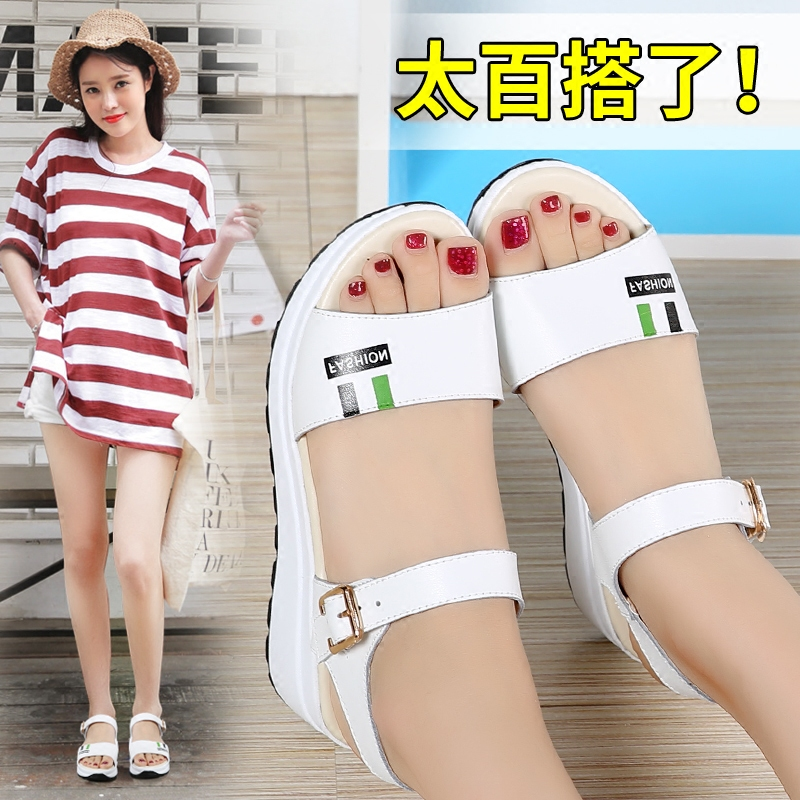 NEWS flat wedge sandals female han edition of the new 2017 students summertime joker with large base platform for women's shoes