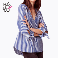 Haoduoyi2017 summer new women's College contracted wind sexy deep V Stripe Tie loose shirt