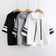 Ulzzang sweater female Korean tide students the new spring and summer 2017 BF set loose hooded head seven T shirt sleeve