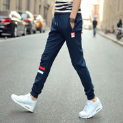 Male trousers Pure Cotton Junior High school student year old teenager Harlan Pants Korea sports casual pants thin Section racer network Reds