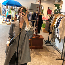 13C suit jacket female 2018 new loose long sleeves in the long section striped tie casual suit GH51