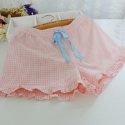 Summer lady Home Furnishing pajamas shorts cotton woven thin beach pants pants pants shorts Home Furnishing cute Plaid
