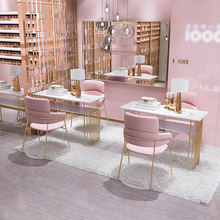 Simple combination of net red ins nail table and chair set modern marble double-deck beauty shop table double nail table