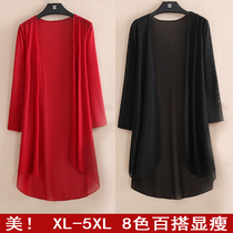 Long air conditioning in summer styles wear thin and fat code shawl Cardigan coats fat mm mesh Sun woman