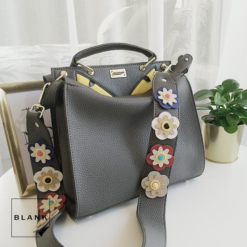 2017秋冬新款大牌女士包包黄眼睛小魔怪替换花朵肩带斜挎手提包袋