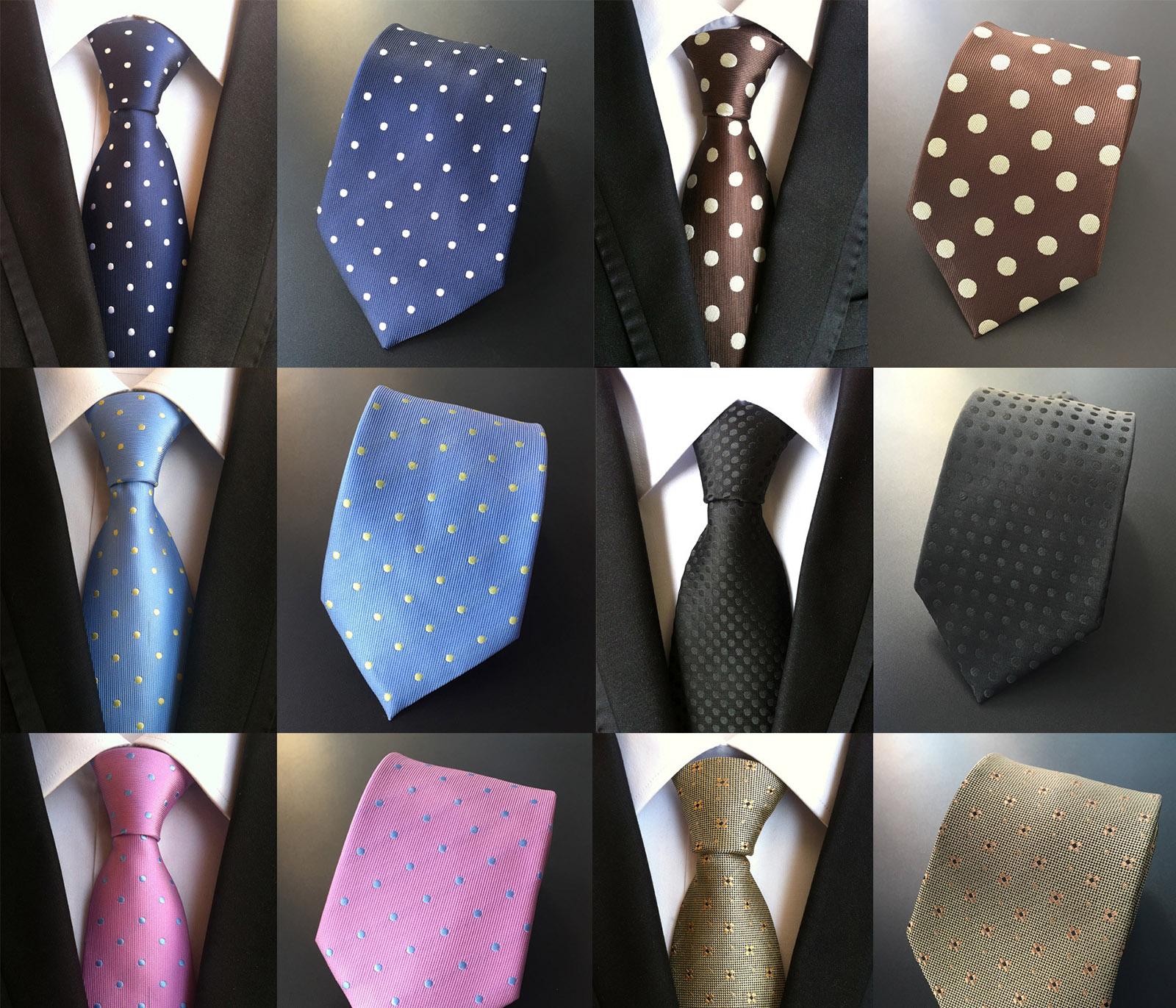 领带男正装波点常规商务圆点领带西装职业领带红色咖啡色蓝色黑色