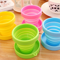 Travel tourism creative portable mini folding glasses silicone flexible outdoor travel Cup with lid wash water cups