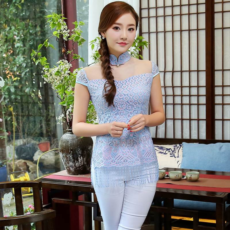 Fashion Costume blouse slim slim sexy retro dress cheongsam Chinese dress shirt tassels