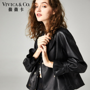 Vivica small short spring 2017 new female leather all-match thin leather leather coat female sheep in Haining
