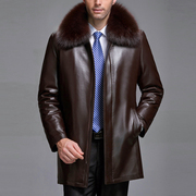 Winter clothes haining leather leather men middle-aged men's leather grass long-long sheep skin thickening coat dad outfit