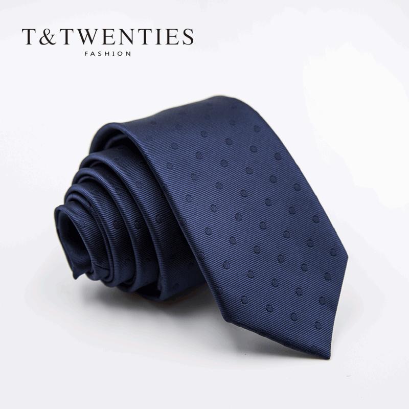 暗调波点领带男韩版 英伦6cm窄版商务工作上班学生礼盒装蓝色深蓝