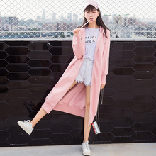 Long sleeve Hooded Sweater female student XL BF Harajuku knee zipper cardigan jacket wind long dress autumn