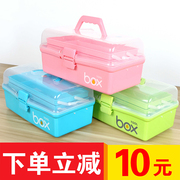 Three layer plastic portable girl art painting gouache painting toolbox large pupil painting box