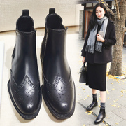 Leather boots with thick Chelsea female flat with British style flat Martin boots female single spring winter boots shoes