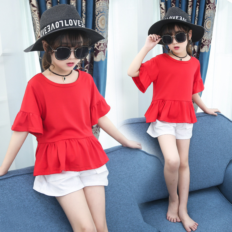 Children's clothing store flagship store, clothing girls summer suit, big child five cents, trumpet sleeve shorts, two sets of tide
