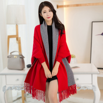 Shanghai story can wear Cashmere shawl scarf women spring and autumn dual-use winter padded sleeve cloak Cape coat