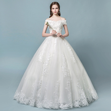 One-shoulder wedding dress 2018 new bride palace princess was thin yards simple Qi light out yarn summer