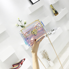 Small bag female 2018 new Korean wave ins super fire package chic chain bag transparent jelly shoulder Messenger bag