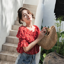 Deer wants to fly summer super-sin floral red chiffon shirt female thin ruffled short-sleeved print shirt top
