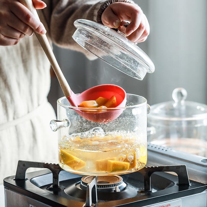 肆月 澄净 玻璃锅透明锅耐高温家用明火汤锅煲粥炖锅多功能养生锅