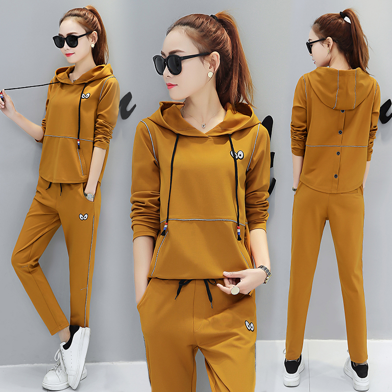 Autumn sports set, women's spring and Autumn Edition, Korean fashion leisure, two sets, 2017 long sleeves, slim slim, running clothes