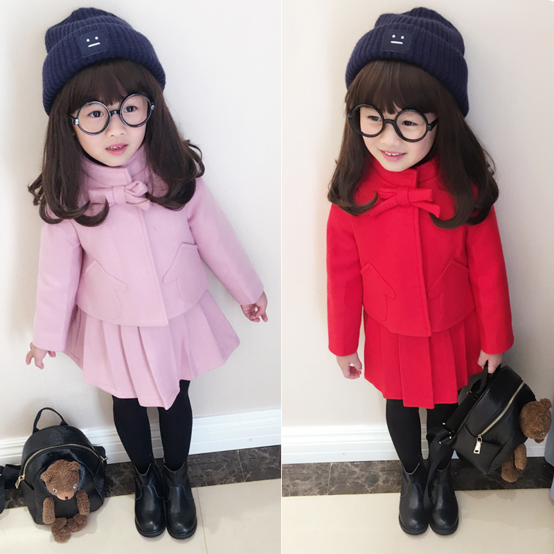 2-7 years old baby winter coat Suit Girls wool coat two dress clothes for children