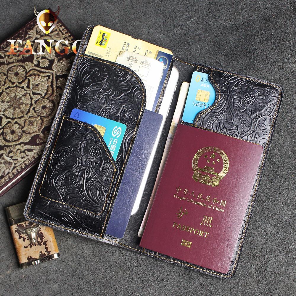 手工真皮护照包头层牛皮长款钱包多功能证件包复古手机机票护照套