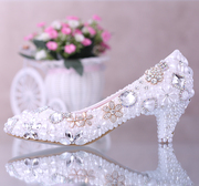 Following their wedding Bridal Shoes dress shoes in the Pearl story slipper shoes with Rhinestone flower pointed shoes asakuchi