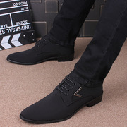 The man pointed shoes trend of Korean business casual dress shoes for men in spring and autumn black cloth
