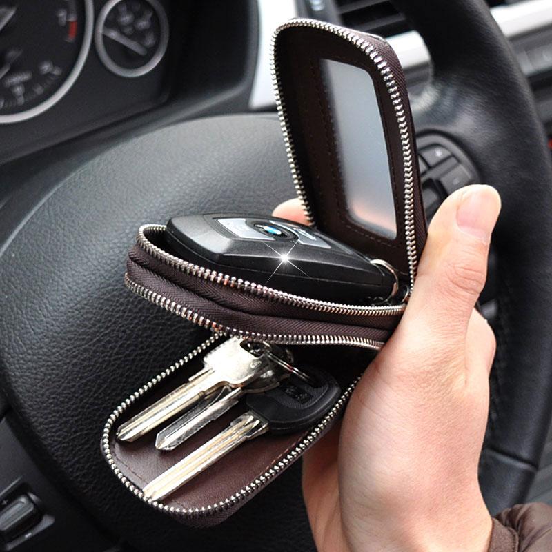 头层牛皮男多功能真皮汽车钥匙包套双层锁匙包匙钥通用遥控大容量