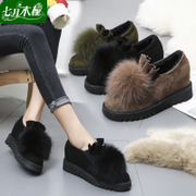 Fox fur plus velvet thickening thick plush shoes 2017 autumn and winter new single shoes a pedal shoes high heels