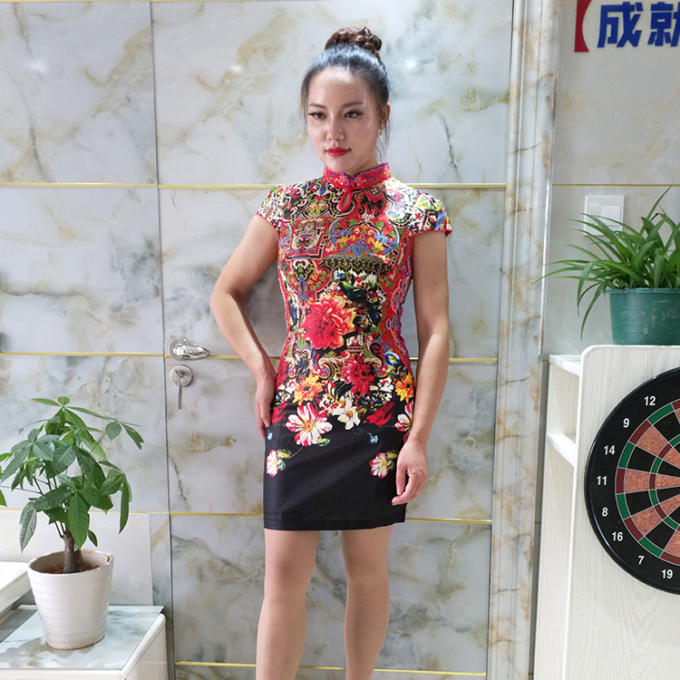China posture rhyme black abstract big red flowers everyday fashion cultivate one's morality short qipao 2017 cultivate one's morality show thin, 816035