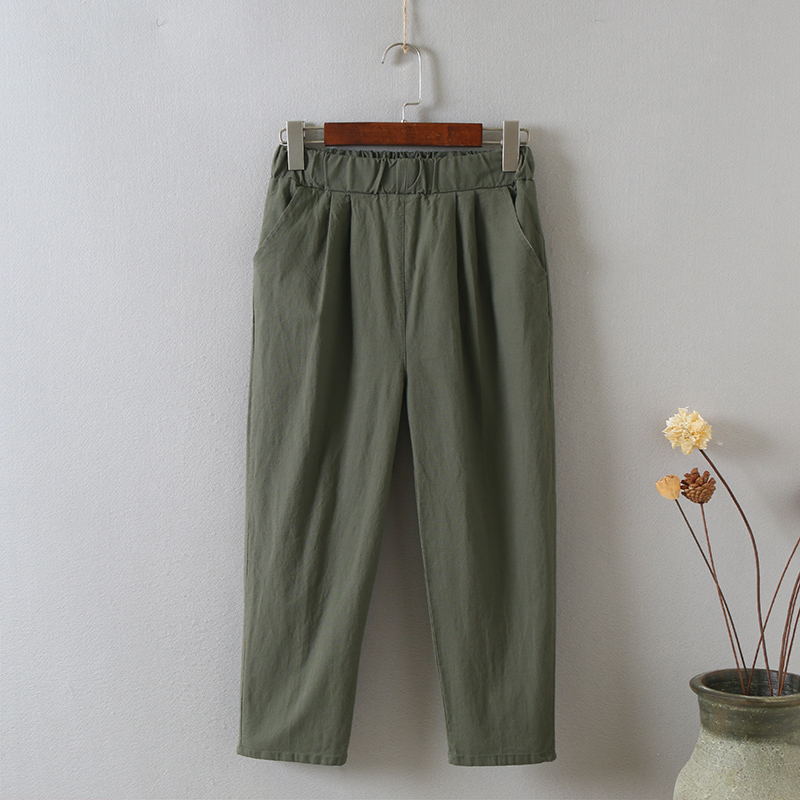 Female linen cotton summer cropped trousers women new elastic waist relaxed leisure harem pants plus size women's pants