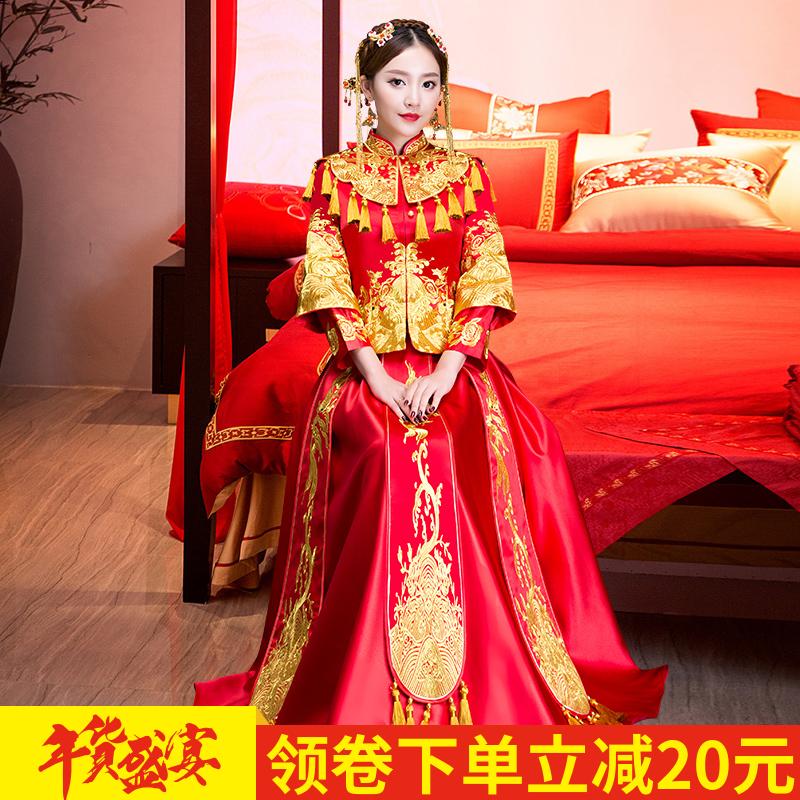 秀禾服新娘2017新款龙凤褂中式嫁衣结婚礼服敬酒服修身秀和服冬季