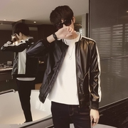 2017 new autumn PU Motorcycle Leather Men's leather jacket slim handsome Korean student fashion collar coat