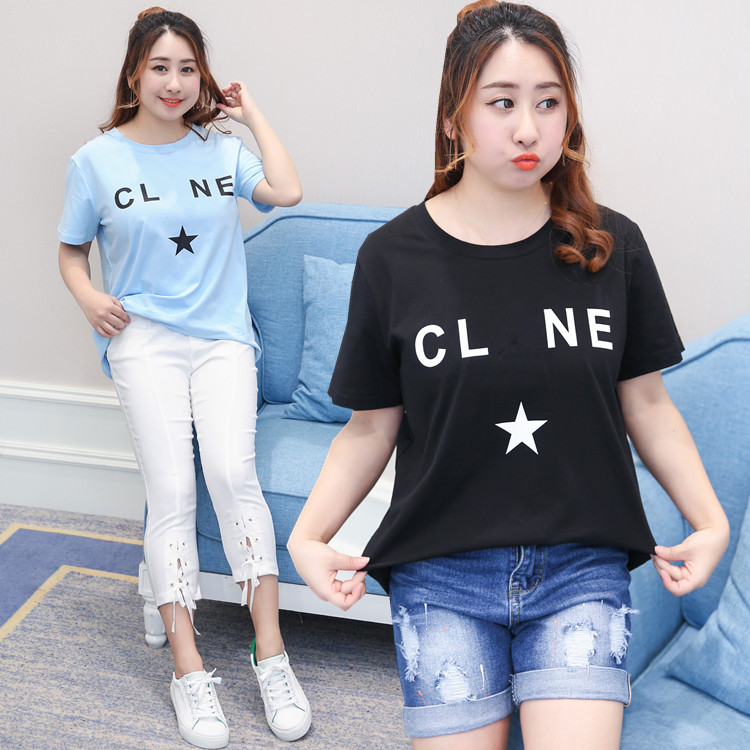 Fashion large size Odell cotton T-shirt coat fat sister add fertilizer increased back wear short sleeved t-shirt design enough rope