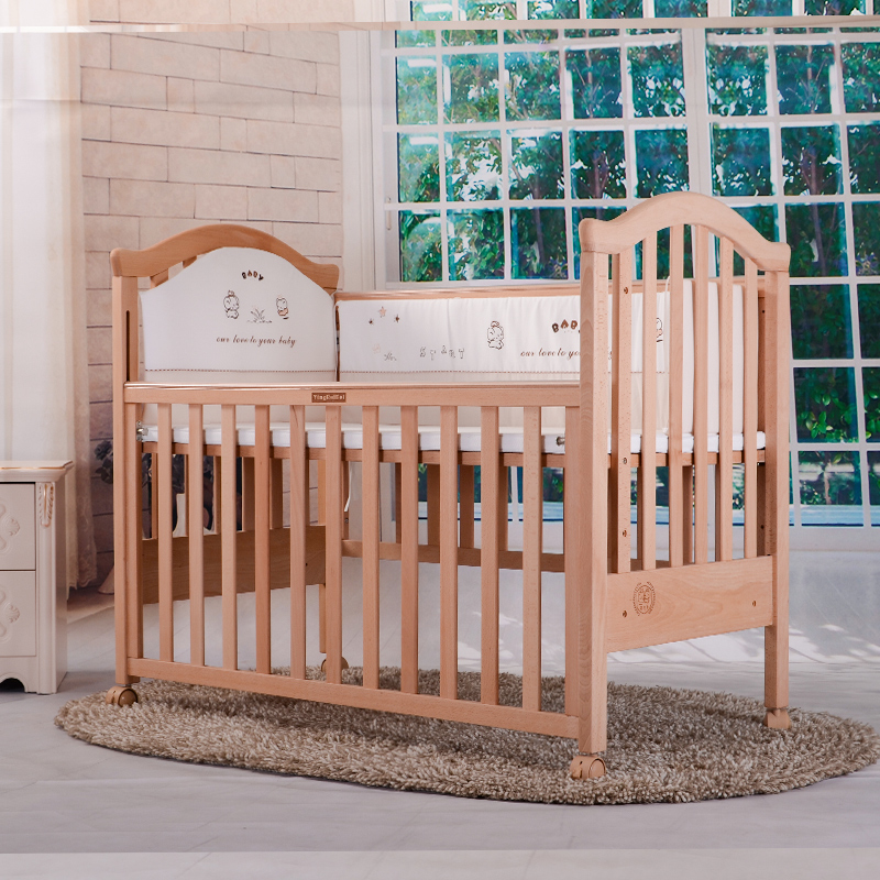 Imported baby, European imported beech, all solid wood, painted baby bed, multi-function baby bed, BB bed