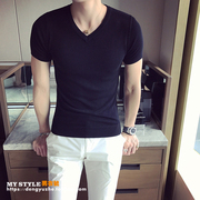 Spring and summer youth V neck sweater T-shirt male Korean slim solid half sleeve thin sweater vests hit the bottom line