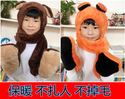 Autumn and winter children Plush hat scarf glove three piece one thickened scarf scarf hat female baby suit