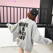 Large size long sleeved sweater female Korean students BF ulzzang leisure all-match tide loose printing face thin coat