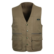 The elderly man in spring and autumn, thin section Multi Pocket Pocket Vest Mens middle-aged father put vest