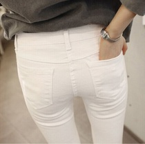 South Korea purchasing elastic white jeans female autumn and winter section of nine pants in the high waist pants cotton tight pants