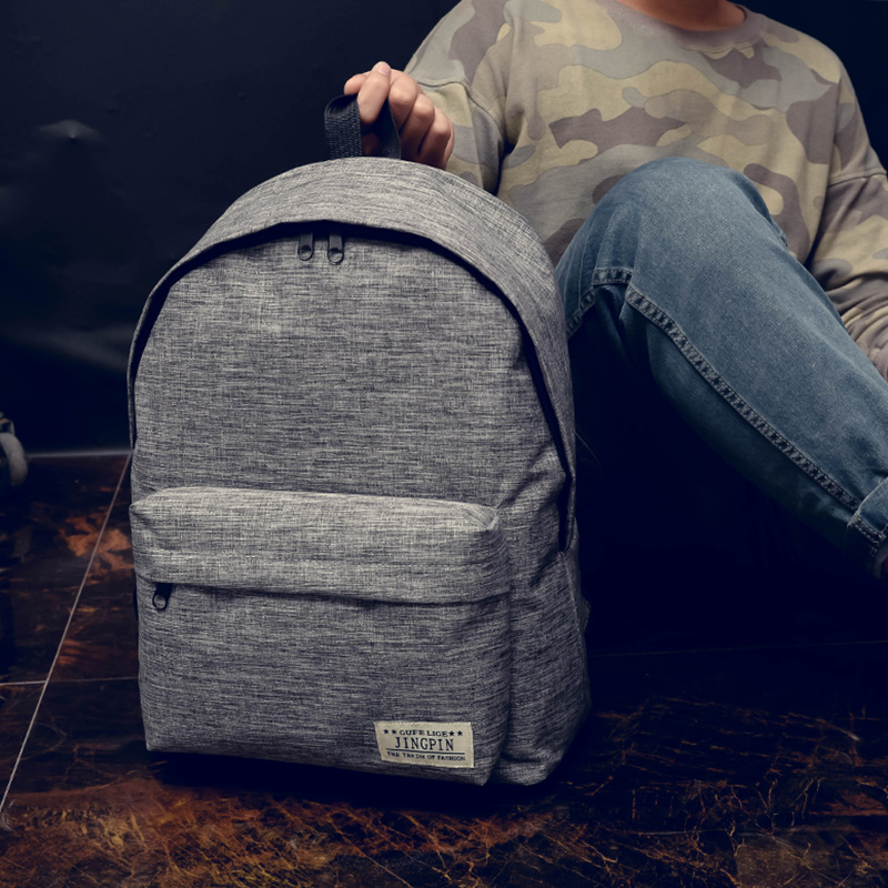 The new 017 canvas backpack han edition college students bag backpack fashion bags leisure wind double back