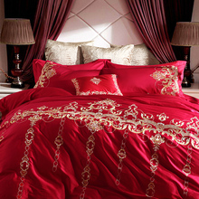 European style wedding four piece red embroidered cotton cotton embroidered quilt wedding wedding bedding six piece