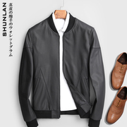 Handsome to a tower to pull the confused! High-grade haining matte sheepskin leather leather man baseball jacket