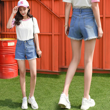Super shorts female summer 2018 new Korean version of the loose students was thin and wild white wide-leg high waist denim hot pants tide