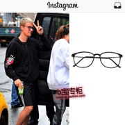 Justin Bieber in the same style Timberlake Bieber street pat black box Chao men and women plain mirror Glasses