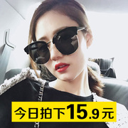 2017 Korean men and women sunglasses retro minimalist personality tide with a round face and big box network Reds Sunglasses